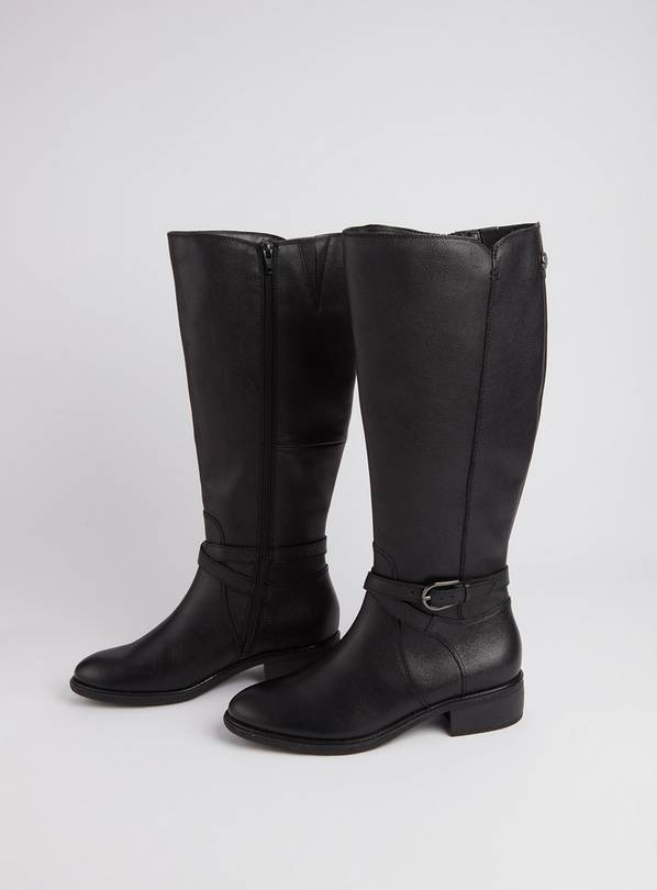 Sole Comfort Black Leather Riding Boots - 5