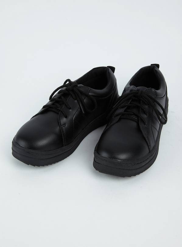 Black Lace Up Cupsole School Shoes - 4