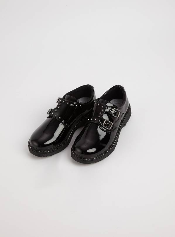 Black Patent Studded School Shoes - 5 Infant