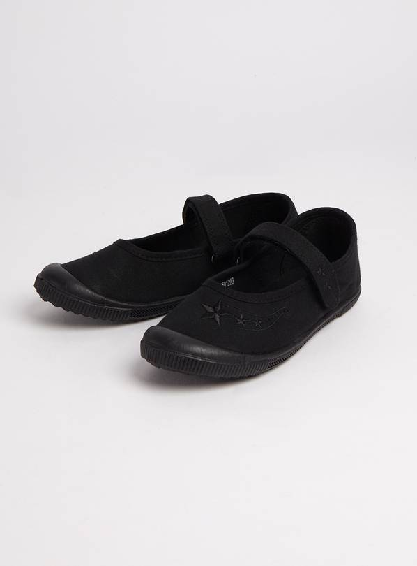 Black Mary Jane Plimsolls - 6 Infant