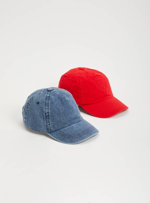 Red NYC Logo & Denim Cap 2 Pack - 3-5 years