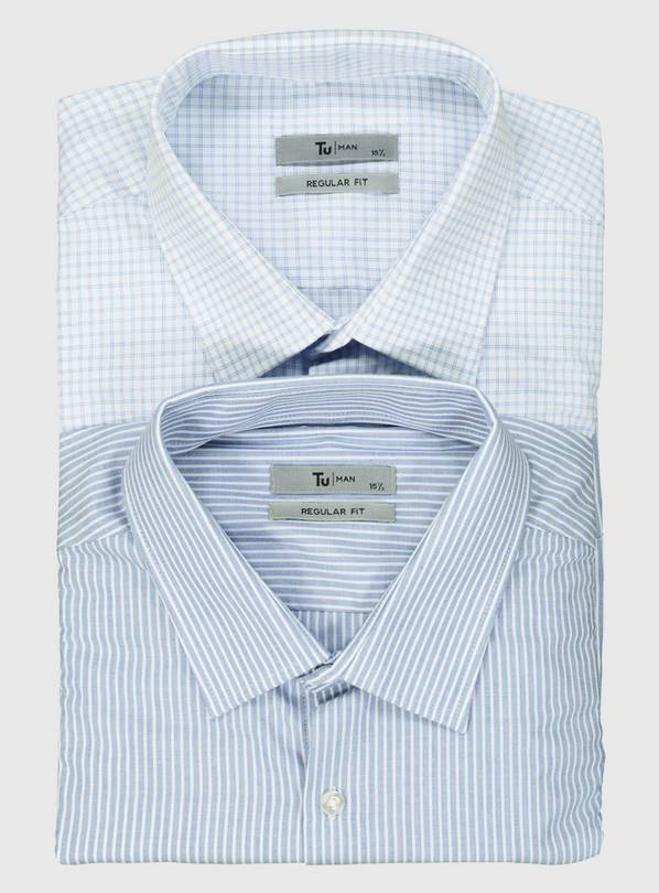 Stripe & Check Regular Fit Shirt 2 Pack - 16