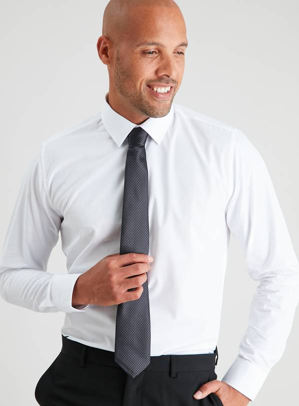 White Regular Fit Shirt & Black Tie Set - 14