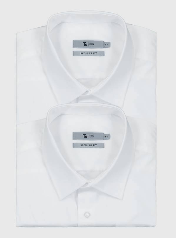 White Regular Fit Long Sleeve Easy Iron Shirts 2 Pack - 15.5