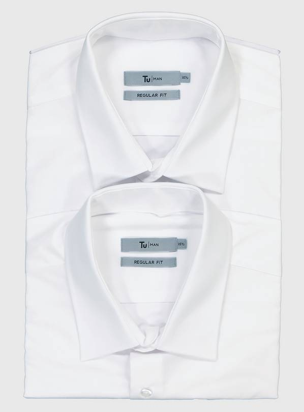 White Easy Iron Regular Fit Short Sleeve Shirt 2 Pack - 17.5