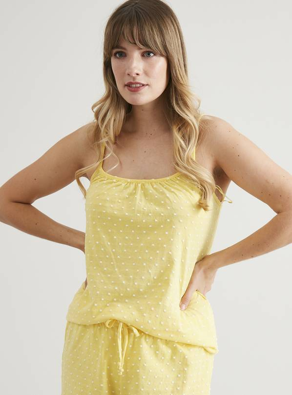 Yellow Swiss Dot Cami Pyjama Top - 16