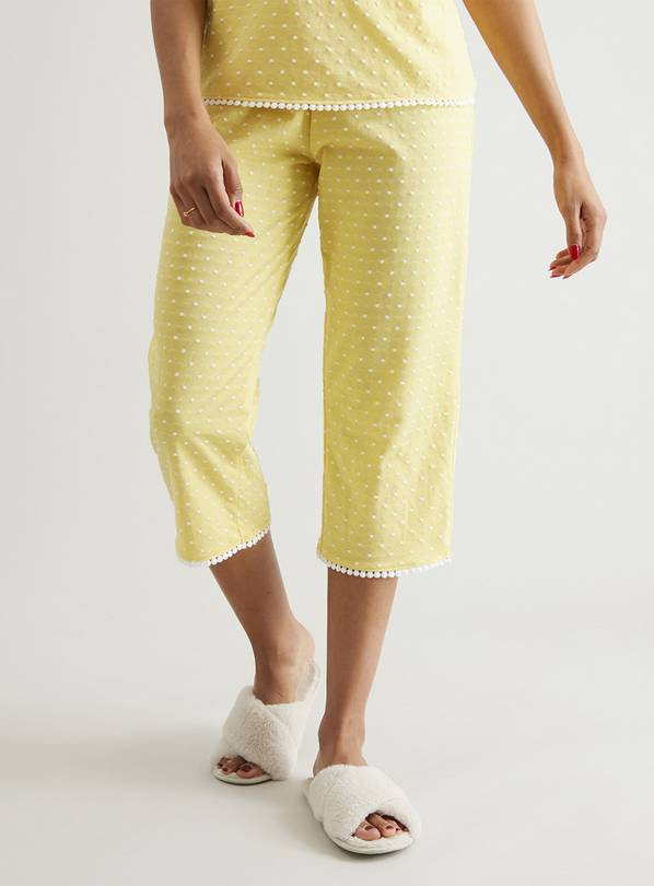 Yellow Swiss Dot Cropped Pyjama Bottoms - 12