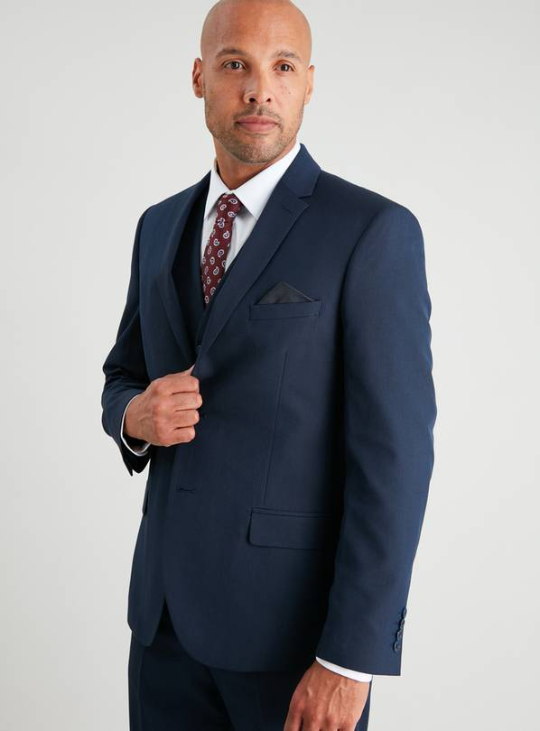 Navy Textured Slim Fit Suit Jacket - 48S