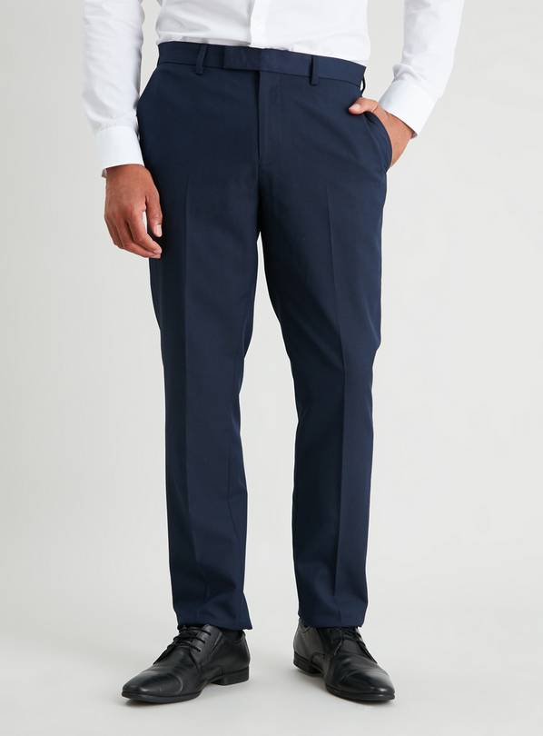 Navy Textured Slim Fit Suit Trousers - W42 L29