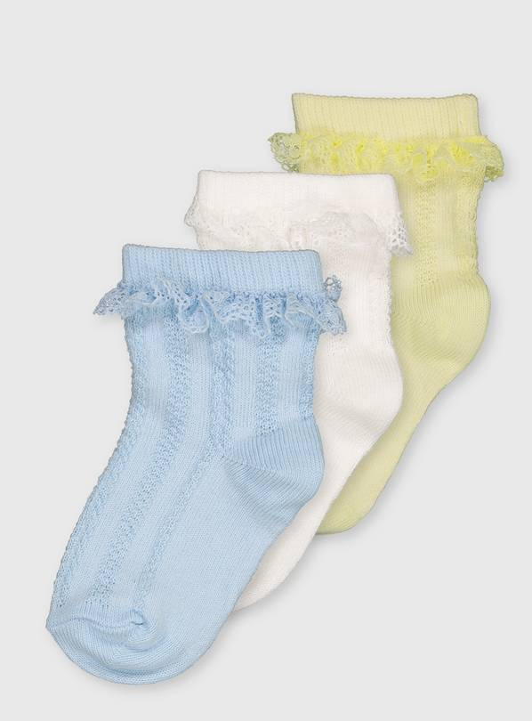Blue, White & Yellow Frill Socks 3 Pack - 6-12 months