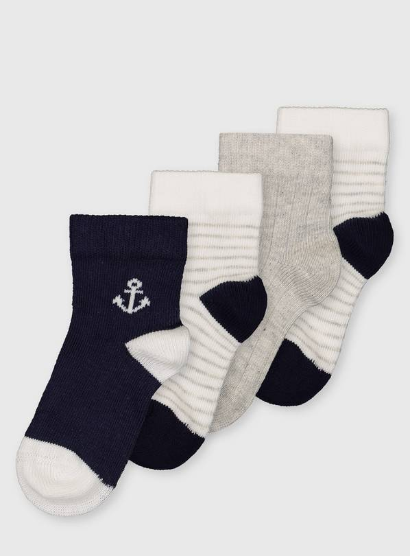 Navy & Grey Anchor Socks 4 Pack - 6-12 months