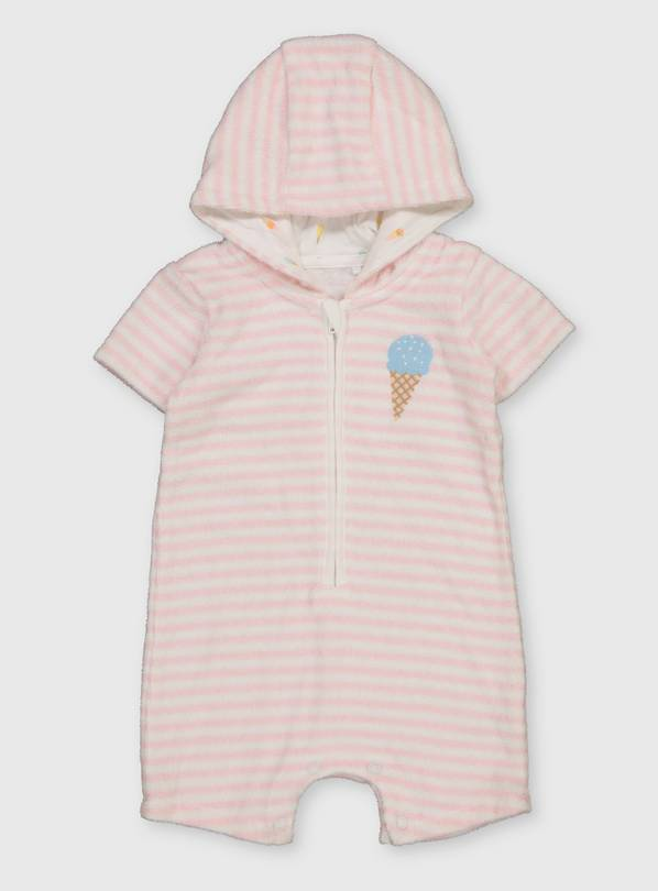 Pink Stripe Towelling Romper - 6-9 months