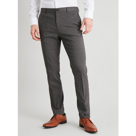 Brown Dogtooth Check Slim Fit Suit Trousers - W40 L35
