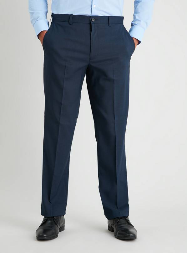 Navy Micro Grid Check Regular Fit Suit Trousers - W36 L33