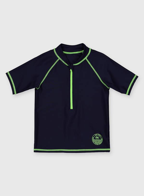 Navy Rash Vest With Green Trim - 8 years