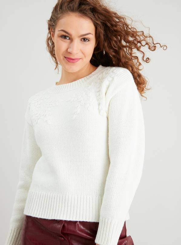 Cream Floral Embroidered Jumper With Wool - 20