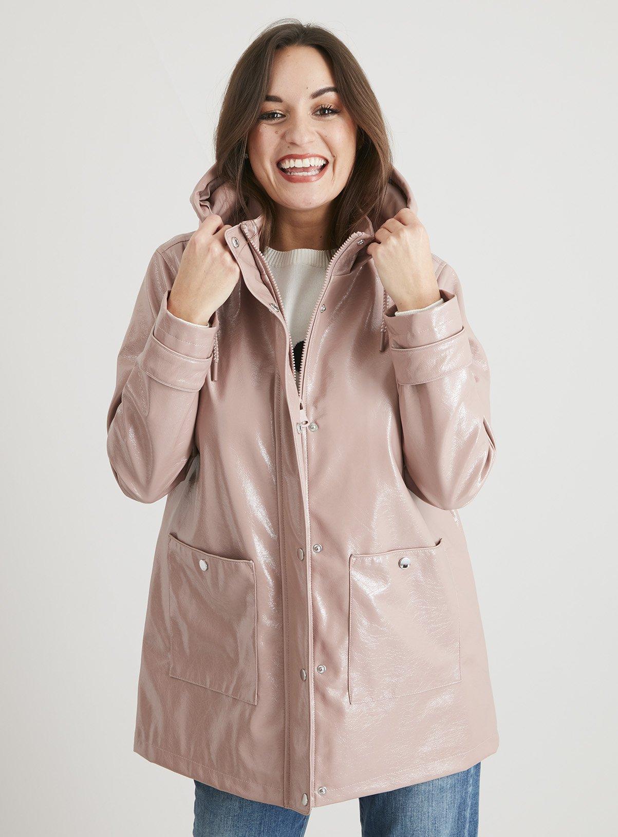 Pink Shower Resistant Vinyl Rubber Raincoat - 24