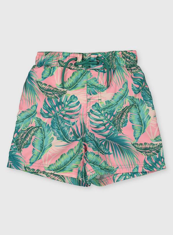 Family Dressing Leaf Print Swim Shorts - 7 years