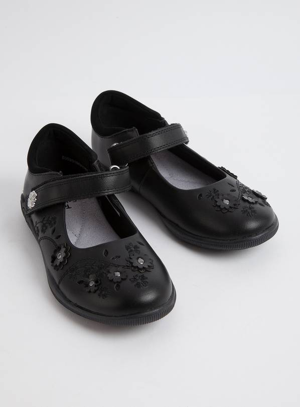 Black Floral School Shoes - 2