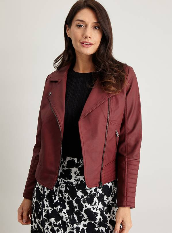 Wine Faux Leather Biker Jacket - 20