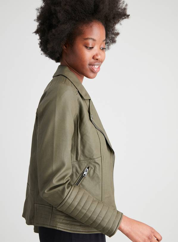 Khaki Faux Leather Biker Jacket - 16