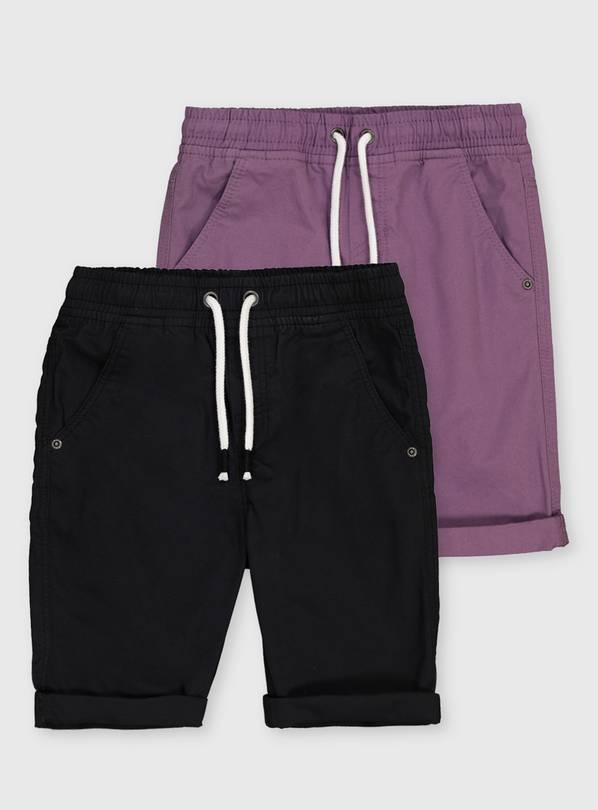 Purple & Black Twill Shorts 2 Pack - 13 years