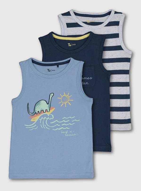 Dinosaur, Stripe & Navy Vest Top 3 Pack - 9-12 months