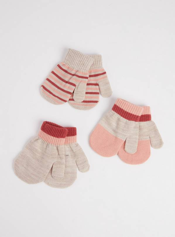 Oatmeal, Stripe Mittens 3 Pack - One Size