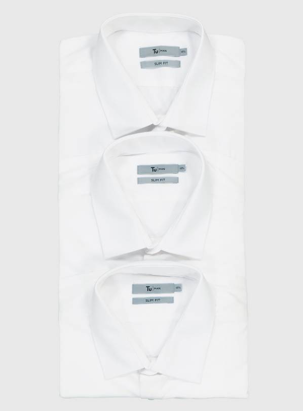 White Slim Fit Long Sleeve Easy Iron Shirts 3 Pack - 14.5
