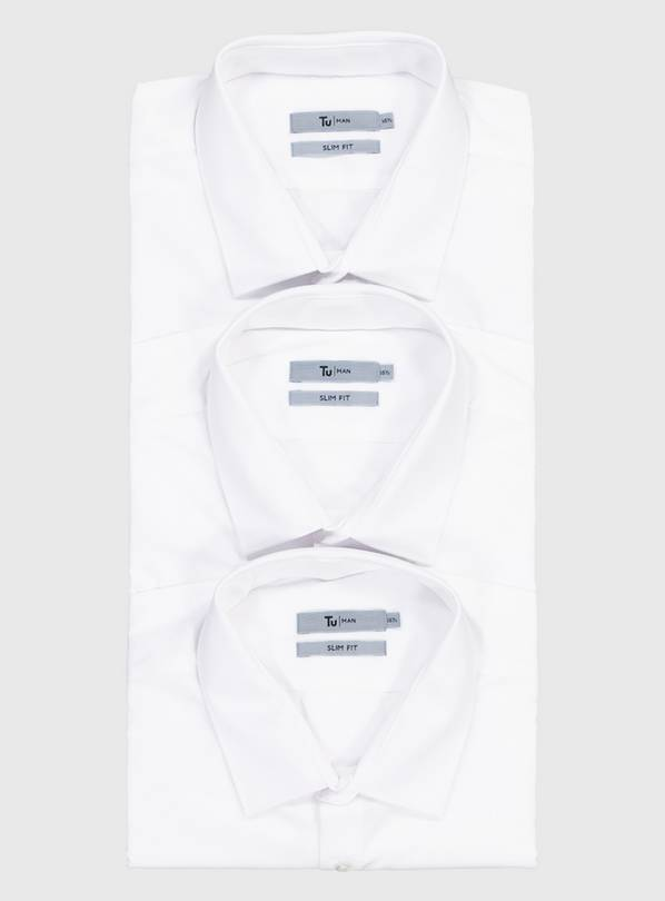 White Slim Fit Short Sleeve Easy Iron Shirts 3 Pack - 16.5