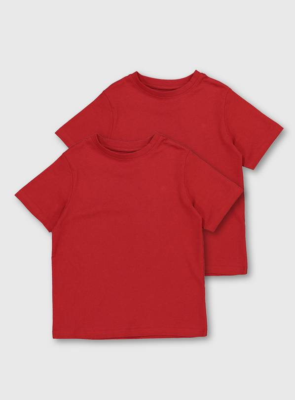 Red Crew Neck T-Shirt 2 Pack - 10 years