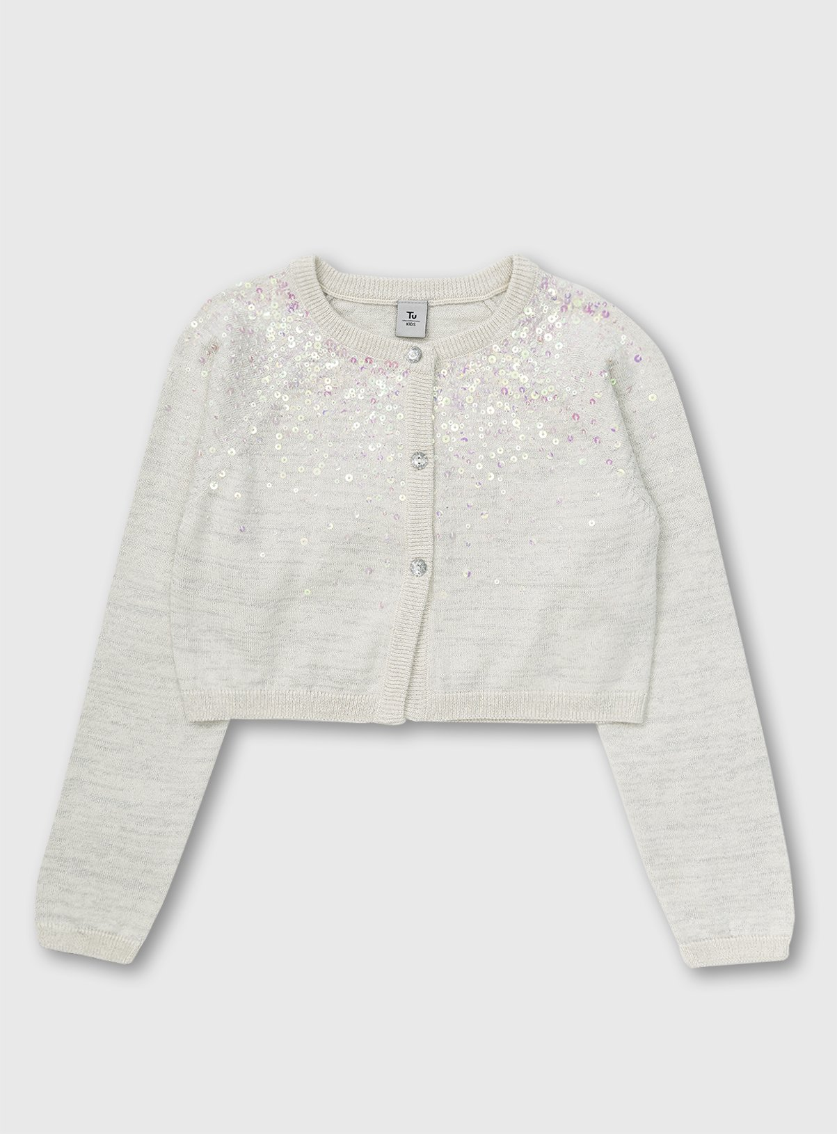 White Glitter Yoke Long Sleeve Bolero - 6 years