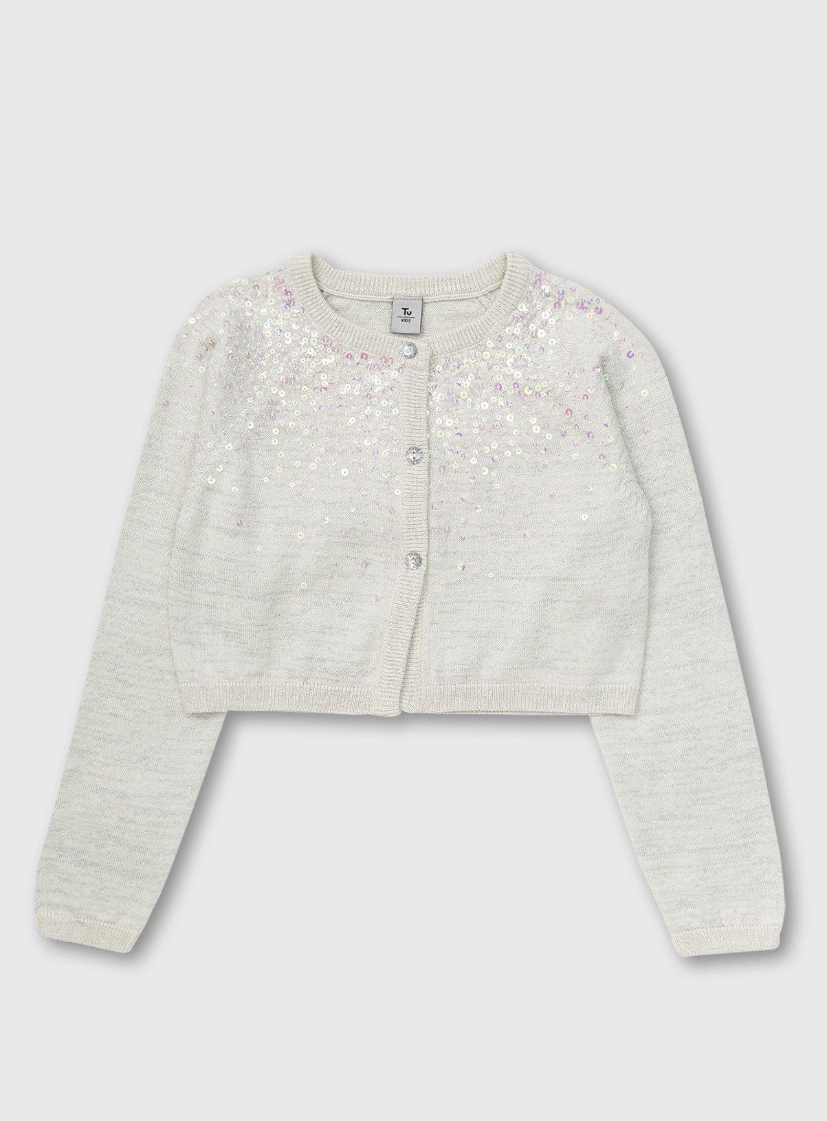 White Glitter Yoke Long Sleeve Bolero - 12 years