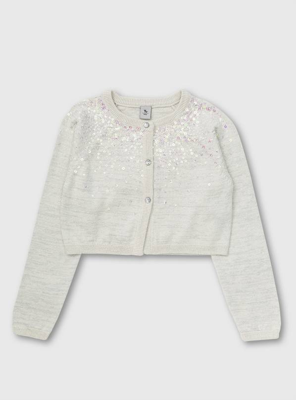 White Glitter Yoke Long Sleeve Bolero - 14 years