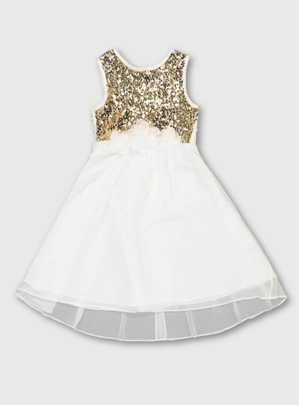 White Sequin Bodice Occasion Dress - 13 years