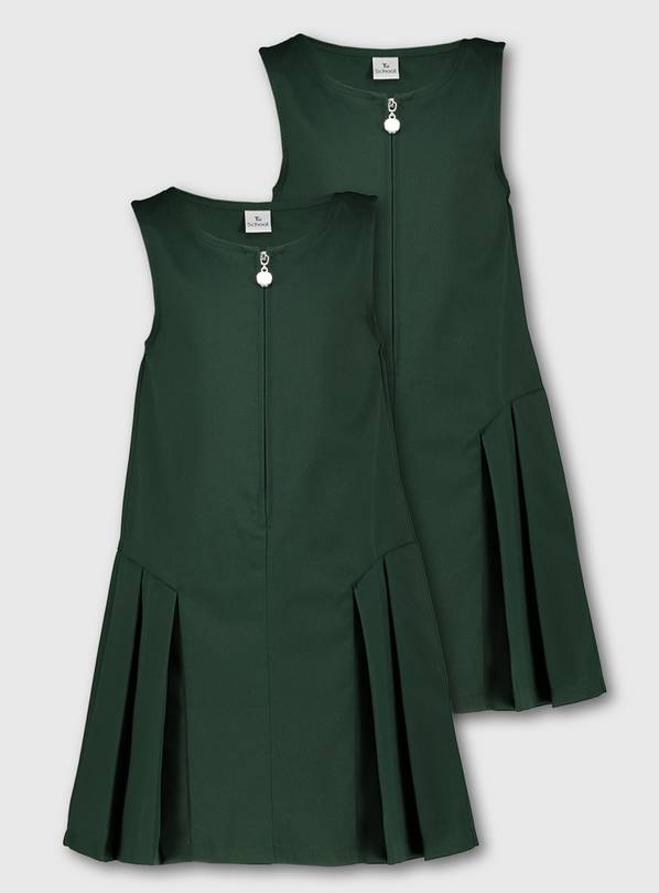 Green Zip Front Pleated Pinafore 2 Pack - 9 years
