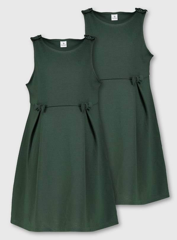 Dark Green Jersey Dresses 2 Pack - 4 years