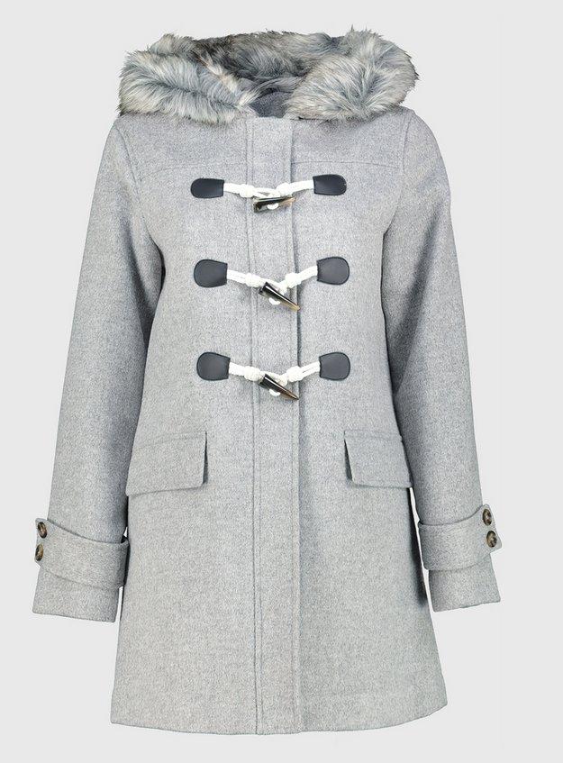 Grey Faux Fur Hooded Duffel Coat With Wool