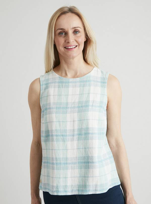 Green Check Linen-Rich Button Detail Shell Top - 14