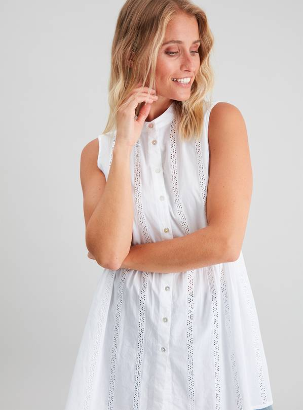 White Schiffli Lace Sleeveless Cotton Tunic - 14