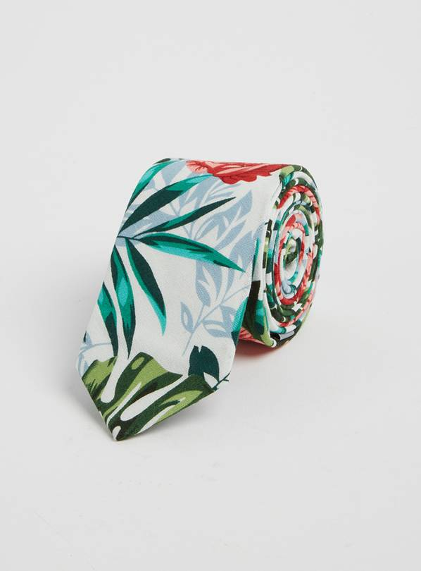 Tropical Leaf Print Tie - One Size
