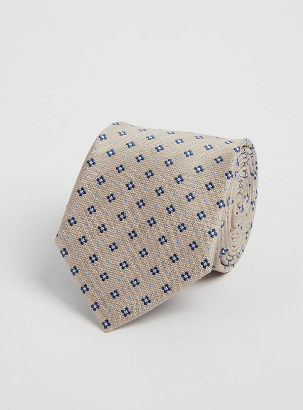 Pale Grey Diamond Print Tie - One Size