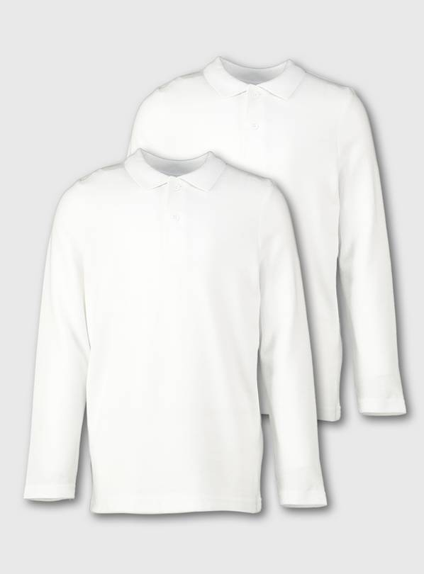 White Unisex Long Sleeve Polo Shirt 2 Pack - 3 years