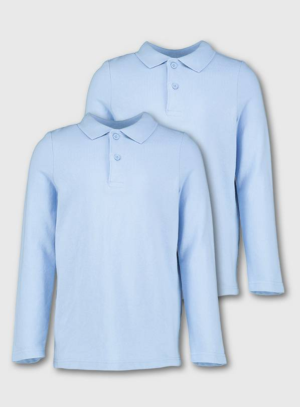 Blue Unisex Long Sleeve Polo Shirt 2 Pack - 11 years