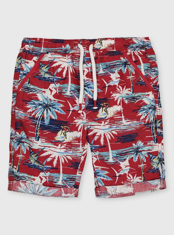 Red Pacific Print Shorts - 11 years