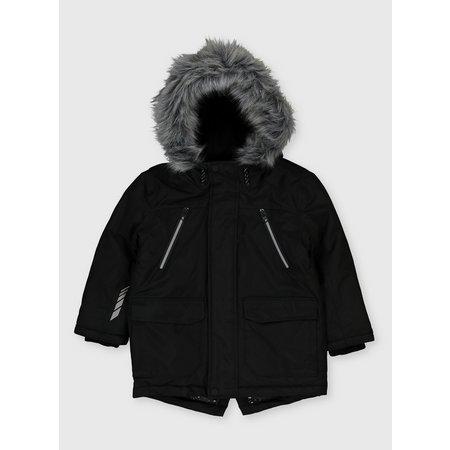 Black Shower Resistant Hooded Parka - 7-8 years