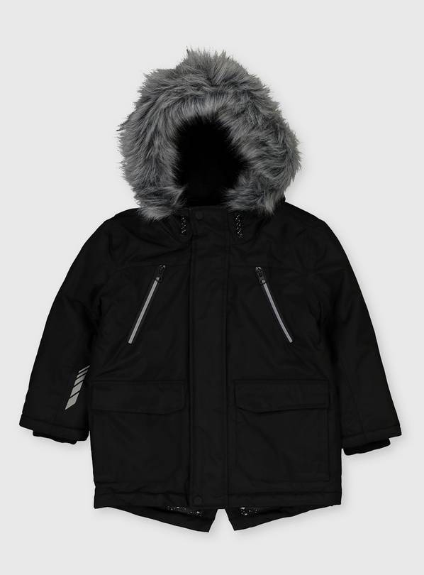 Black Shower Resistant Hooded Parka - 9-10 years