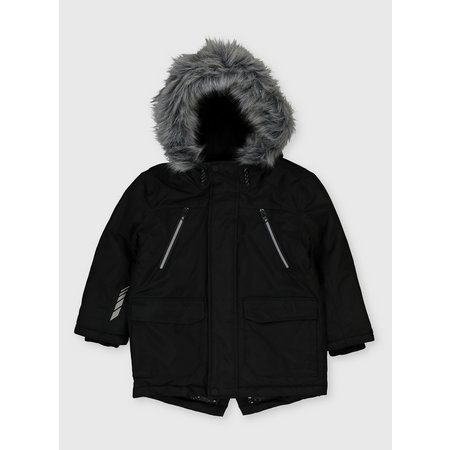 Black Shower Resistant Hooded Parka - 11-12 years