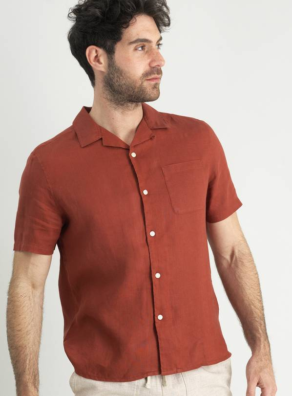 Brick Regular Fit Linen Shirt - XXXL