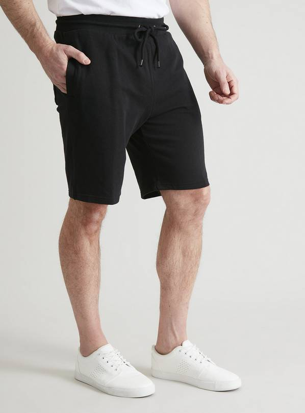 Black Drawstring Waist Jersey Shorts - XL